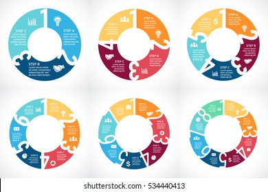 Vector circle arrows numbers 1, 2, 3, 4, 5, 6, 7, 8 infographic, diagram, graph, presentation, chart. Business cycle concept with options, parts, steps, processes. Numbering data template. Clock.