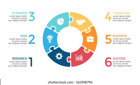 Vector circle arrows puzzle infographic, cycle diagram, jigsaw graph, presentation chart. Business infographics with 6 options, parts, steps, processes. Clean white background