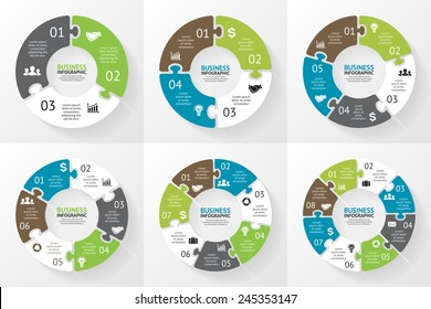 Vector circle arrows puzzle infographics set. Template for diagram, graph, presentation and chart. Business concept with 3, 4, 5, 6, 7, 8 options, parts, steps or processes. Abstract background.