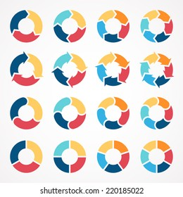 Vector circle arrows set for infographic. Template for diagram, graph, presentation and chart. Business concept with 3, 4, 5, 6 options, parts, steps or processes. Abstract background.