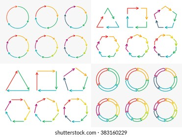 Vector circle arrows set for infographic. Template for diagram, graph, presentation and chart. Business concept with 3, 4, 5, 6, 7, 8 options, parts, steps or processes