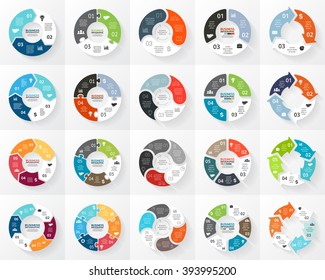 Vector circle arrows sign infographic set. 3, 4, 5, 6 options, parts, steps. Cycle diagram, symbol graph, puzzle presentation, round chart. Business infographics concept template with data processes.