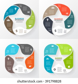 Vector circle arrows star infographic. Template for cycle diagram, graph, favourite presentation and round chart. Business infographics logo concept sign with 5 options, parts, steps or processes.