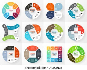 Vector circle arrows stripe infographics set. Template for cycle diagram, graph, presentation and round chart. Business concept with 4 options, parts, steps or processes. Marketing data brochure.
