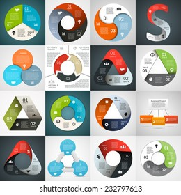 Vector circle arrows triangle infographics set. Template for diagram, graph, presentation and chart. Business concept with 3 cyclic options, parts, steps or processes. Abstract background.