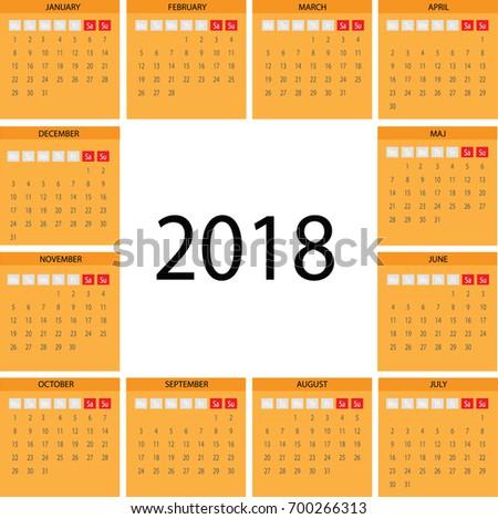 vector circle basic calendar 2018 illustration stock vector royalty
