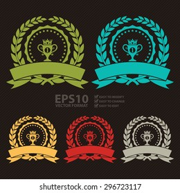 Vector : Circle Blank Empty Wheat Laurel Wreath With No1 Trophy Ribbon, Label, Sticker, Banner, Sign or Icon
