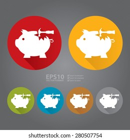 Vector : Circle Broken Piggy Bank With Hammer Flat Long Shadow Style Icon, Label, Sticker, Sign or Banner