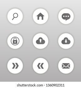 Vector circle button icon set,Home,Search,Help,Upload,Download,Login,E-mail,Next,Prev.