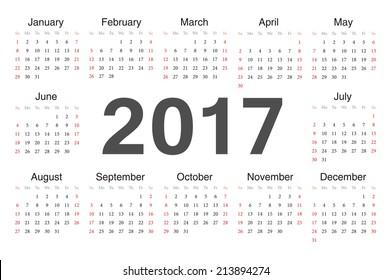 Vector circle calendar 2017. Week starts from Sunday.