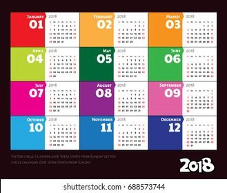 Vector circle calendar 2018. Week starts from Sunday