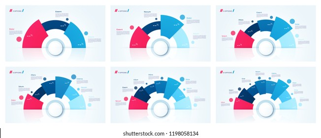 Vector circle chart designs, templates for creating infographics, presentations, reports, visualizations. 3 4 5 6 7 8 options.