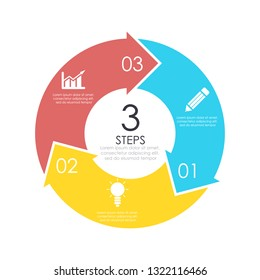 Vector circle chart infographic template with arrow for cycle diagram, graph, web design. Business concept with 3 steps or options. Abstract background.