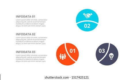 Vector circle element for infographic. Template for cycle diagram, graph, presentation and round chart. Business concept with 3 options, parts, steps or processes.