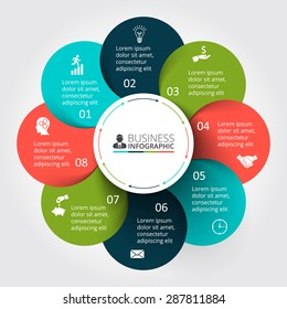 Vector circle element for infographic. Template for cycle diagram, graph, presentation and round chart. Business concept with 9 options, parts, steps or processes. Abstract background
