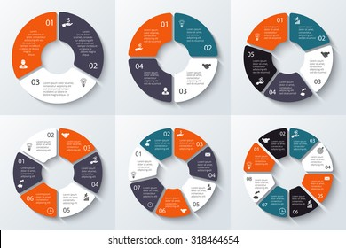Vector circle element for infographic. Template for cycle diagram, graph, presentation and round chart. Business concept 3, 4, 5, 6, 7 and 8 with options, parts, steps or processes.