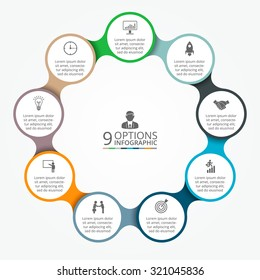 Vector circle element for infographic. Template for cycle diagram, graph, presentation and round chart. Business concept with 9 options, parts, steps or processes. Abstract background.