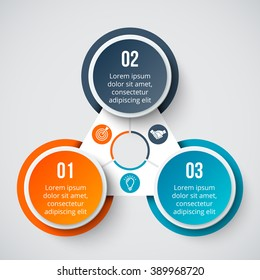Vector circle element for infographic. Template for cycle diagram, graph, presentation and round chart. Business concept with 3 options, parts, steps or processes. Abstract background.