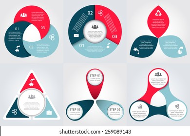 Vector circle elements for infographic. Template for cycling diagram, graph, presentation and round chart. Business concept with 3 options, parts, steps or processes. Abstract background.