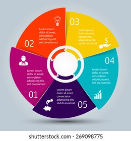 Vector circle elements for infographic. Template for cycling diagram, graph, presentation and round chart. Business concept with 5 options, parts, steps or processes. Abstract background