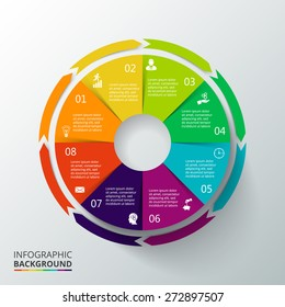 Vector circle elements for infographic. Template for cycling diagram, graph, presentation and round chart. Business concept with options, parts, steps or processes. Abstract background