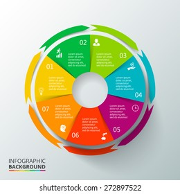 Vector circle elements for infographic. Template for cycling diagram, graph, presentation and round chart. Business concept with 7 options, parts, steps or processes. Abstract background