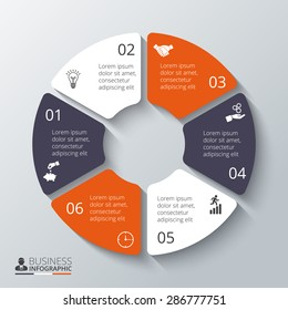 Vector circle elements for infographic. Template for diagram, graph, presentation. Business concept with 6 options, parts, steps or processes. Abstract background.
