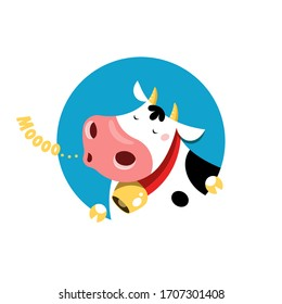 Vector circle emblem of a mooing cow.