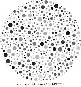 Vector circle filled with a texture of randomly arranged gray circles of various sizes and shades