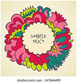 Vector circle floral text banner design template