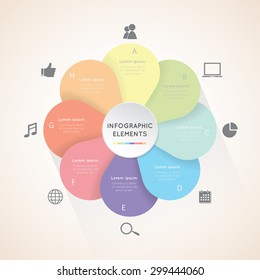 Vector circle flower infographic. Template for diagram,  graph, presentation and chart. Business concept with eight options,  parts, steps or processes on the white background