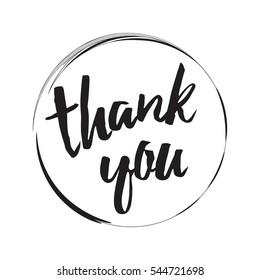 Vector circle frame with black text thank you. Abstract thankful calligraphy round element isolated on the white background. Lettering design