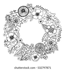 Vector circle frame, black and white wreath made of flowers. Circle decoration. Wreath illustration made of flowers and herbs. Spring elements. Floral doodles wreath.