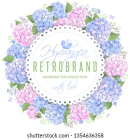 Vector circle frame with blue and pink hydrangea flowers on white background. Gentle floral design. Can be used as design element for wedding , greeting card, package and other.