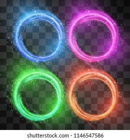 Vector circle frame set, neon light effect with hazy flare. Magical glowing tail of shining stardust sparkles. Glistening energy ring flow in motion. Luxurious design.