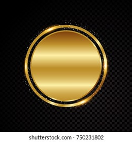 Vector circle frame. Shining banner. Isolated on black transparent background Vector illustration