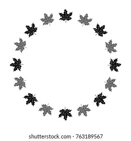 Vector circle frame, wreath made of maple leaves. Circle decoration.