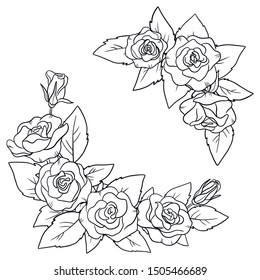 vector circle halfframe rose flower elements for your design  coloring book page