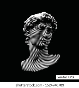 Vector circle halftone black and white illustration of classical roman and greek statue bust of male figure from 3D rendering.