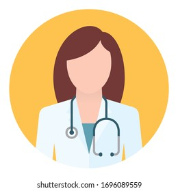 Vector circle icon woman doctor with stethoscope. Brown hair. Isolated on white background.