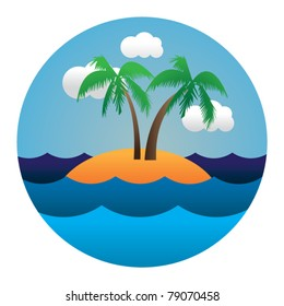 vector circle illustration of island in waves