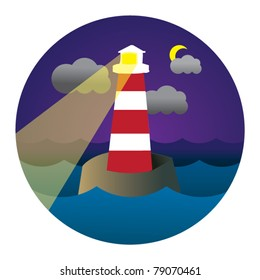 vector circle illustration of lighthouse in waves