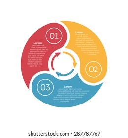 Vector circle infographic design element. Template for diagram, graph, presentation and chart. Business concept with 3 options, parts, steps or processes