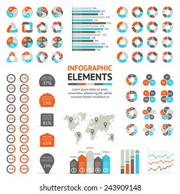 Vector circle infographic elemets set. Template for diagram, graph, presentation and chart. Business concept with 3, 4, 5, 6 options, parts, steps or processes.