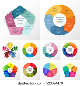 Vector circle infographic set. Business diagrams, round arrows graphs, puzzle presentations and charts. Data infographics with 5 options, parts, steps, cycle processes.