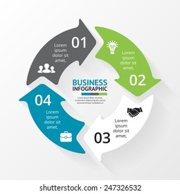 Vector circle infographic. Template for cycle diagram, graph, presentation and round chart. Business concept with 4 options, parts, steps or processes. Abstract background.