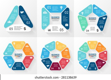 Vector circle infographic. Template for cycle diagram, graph, presentation and round chart. Business concept with 3, 4, 5, 6, 7, 8 options, parts, steps or processes. Abstract background
