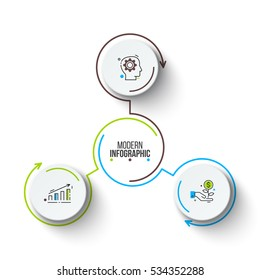Vector circle infographic. Template for cycle diagram, graph, presentation and round chart. Business concept with 3 options, parts, steps or processes. Stroke icons.