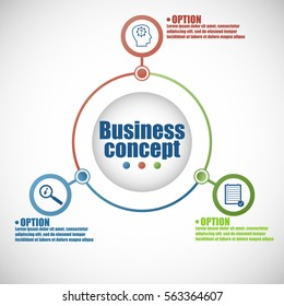 Vector circle infographic. Template for cycle diagram, graph, presentation and round chart. Business concept with 3 options, parts, steps or processes.