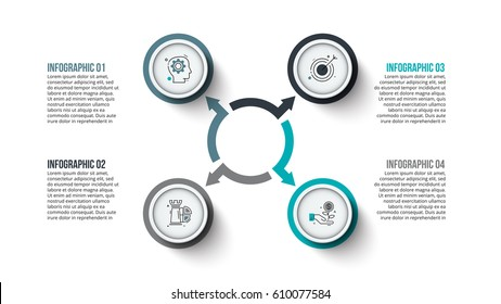 Vector circle infographic. Template for cycle diagram, graph, presentation and chart. Business concept with 4 options, parts, steps or processes. Data visualization. Stroke icons.